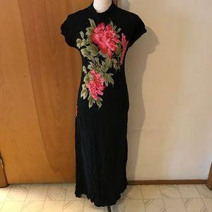 Vintage Oriental Long Bold Rose Print Rayon